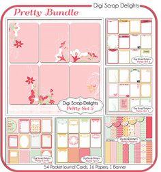Pretty Pocket Journal Card Bundle, Project Life Inspired 3x4 Printable PDF & PNG, Digital Scrapbooking