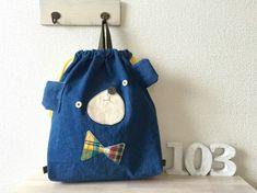 受注制作☆デニくま お着替え袋|レッスンバッグ・入園グッズ|10*3|ハンドメイド通販・販売のCreema Baby Sewing Projects, Sewing Projects For Beginners, Sewing Crafts, String Bag, Patch, Handmade Bags, Handicraft, Mini Bag, Purses And Bags
