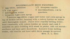 Family Recipe Friday ~ Marshmallow Snow Frosting #genealogy #familyhistory