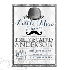 Co-Ed Baby Boy Shower Invitation - Little Man On The Way Mustache Top Hat Invite Gray Argyle Printable Typography- No.341. $18.00, via Etsy.