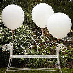 A pack of 3 large 36 inch feature balloons in white. Add extra sparkle to these   balloons by making tassles in your colours or party theme with ribbons and crepe!Ideal for using at weddings or parties! Not suitable for children under the   age of 36 months.