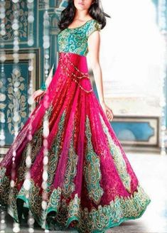 Turquoise/Pink Indian Anarkali Dress - Heavy Embroidery Not usually a fan of these colors together, but this looks really fun and pretty Indian Attire, Indian Wear, Pakistani Outfits, Indian Outfits, Party Kleidung, Desi Clothes, Indian Clothes, Anarkali Dress, Anarkali Suits