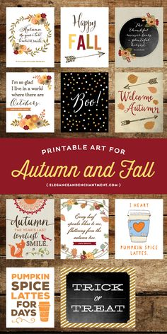 11 Art Printables for Fall Decor and Autumn Parties, 8 x 10 in PDF and JPG format. Grab this instant download bundle for $14.99 from Enchanted Prints.