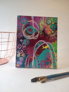 An original canvas a visual prompt to a piece of music playing in my studio. A vibrant colourful moving work