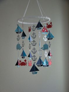This adorable Nautical Sailboat Mobile will look great in any little boys room. (custom colors available) Red White Navy Baby Blue      **The Ring