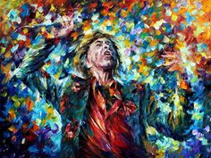 "Original Recreation Oil Painting on Canvas This is the best possible quality of recreation made by Leonid Afremov in person.  Title: Mick Jagger Size: 40"" x 30"" (100cm x 75cm) Condition: Excellent Brand new Gallery Estimated Value: $6,500 Type: Original Recreation Oil Painting on Canvas by..."