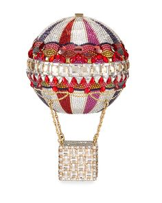 """#ONLYATNM Only Here. Only Ours. Exclusively for You. Judith Leiber Couture hot air balloon """"Savannah"""" clutch. Encrusted in signature Austrian crystals. Delicate chain strap may be tucked inside. Push-"""
