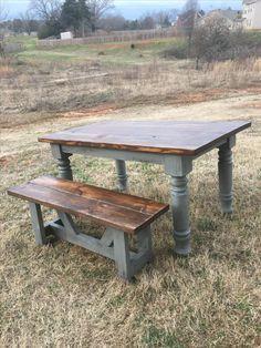 Farmhouse Table - Rustic Turned Leg Farmhouse Table - Chunky Leg Farm table and bench - Wood Farm Table- Rustic - Custom Wood Table