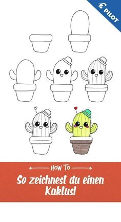 Cute drawing tutorial with which you quickly learn to draw a cactus! Also suitable for beginners and Cute Easy Drawings, Art Drawings For Kids, Kawaii Drawings, Doodle Drawings, Drawing For Kids, Drawing Tutorials Online, Drawing Tutorials For Beginners, Online Drawing, Beginner Drawing