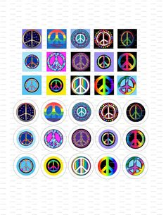 Digital Collage 1 inch Peace Signs / 38 by LisaChristines on Etsy, $1.50