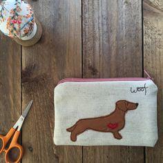 Dachshund dog coin purse,  Beaglen Thread