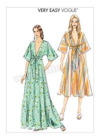 Vogue Patterns Misses' Deep-V Kimono-Style Dresses with Self Tie Sewing Pattern, Red Kimono Style Dress, Kimono Fashion, Diy Fashion, Fashion Dresses, Vogue Dresses, Slip Dresses, Origami Fashion, Vogue Fashion, Fashion Details
