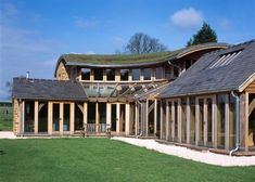 Cotswold stone and turf roof - Roderick James Architects > Plenty of glazing and a turf roof make this a Dream Home Sedum Roof, Oak Frame House, Timber Architecture, Barn Living, Natural Building, Dream House Exterior, Eco Friendly House, House Extensions, Building A House