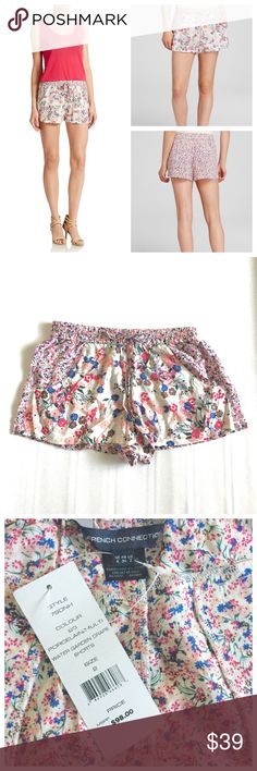 French Connection Water Garden Drape Shorts French Connection trendy summer floral shorts with a smock banded waist and drawstring tie, two slit side pockets and slit back pockets.  Pull on style.  100% viscose.  No trades. French Connection Shorts