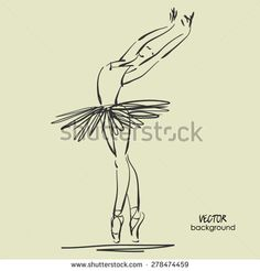 art sketched beautiful young ballerina with tutu in pose of dance. Vector illustration - stock vector