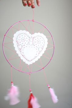 How To: Valentine Doily Dreamcatcher