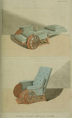 "Invalid Chair ""Wheelchair"" from Ackermann's Repository Series 1, Regency Furniture 1809 -1815"