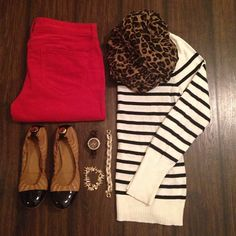 Red jeans, striped sweater, leopard scarf, camel flats