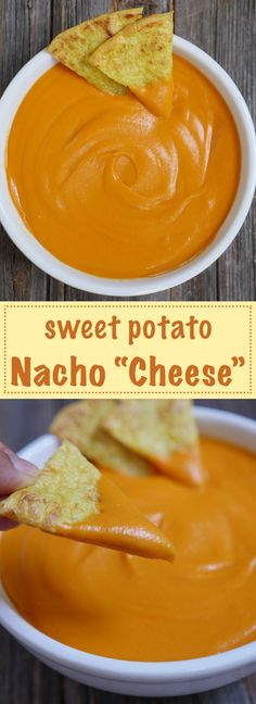 """Sweet Potato Nacho """"Cheese"""" is dairy-free, paleo, vegan and allergy-friendly. Recipe by MyHeartBeets.com"""
