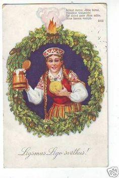 Latvia Ligo postcard. Girl in a folk costume with beer and cheese. Līgsmus Līgo svētkus!