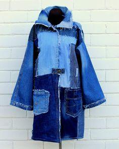 Denim patchwork jacket coat recycled upcycled indigo blue hipster freak hippie vegan eco-friendly un Long Denim Jacket, Denim Coat, Oversized Jeans, Patchwork Jeans, Denim Ideas, Patched Jeans, Mode Chic, Recycled Denim, Denim Fashion