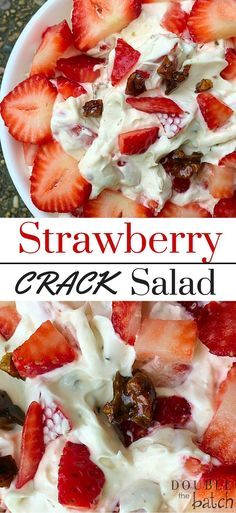 This is absolutely the BEST potluck dessert salad I have ever had! IF you love strawberries, then this strawberry dessert salad with toffee will make your tastebuds sing!