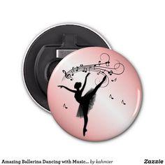 Amazing Ballerina Dancing with Music Pink Bottle Opener