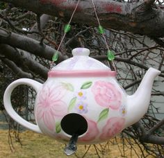 Teapot Birdhouse by meowchie on Etsy