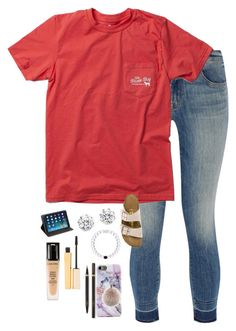 """Going to Georgia Tech today to watch Rabun County girls"" by kristie-thompson78 ❤ liked on Polyvore featuring J Brand, Birkenstock, Kenneth Jay Lane, Kate Spade, Stila, Tom Ford, Lancôme and Oscar de la Renta"