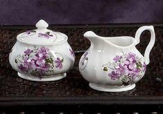 Covered sugar and creamer set made in England by Royal Patrician  Bone China