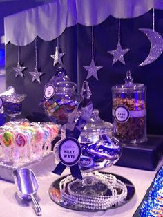 Fly Me To The Moon Prom Themes, Quinceanera Themes, Wedding Fair, Wedding News, Wedding Blue, School Dance Decorations, Beach Engagement Party, Sweet Sixteen Themes, Star Centerpieces