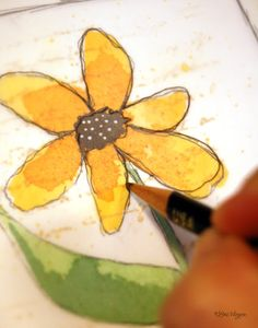 ELVIE STUDIO. . . .inspiration monday - She paints her flower from a DOODLE type drawing. . . .then makes a stamp out of it in order to make her many cards.   Check out her site!  Moo-cho good ideas for Art Journaling.