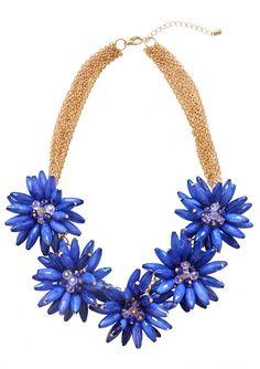 e393c7418f3a Collar Llamativo Flor de Amor En Azul Marino 28