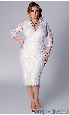 Gisela Short White V-Neck Dress at SimplyDresses.com