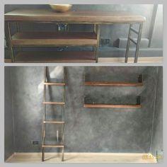 Bagno a disegno del cliente in ferro naturale. Abbinato al legno di rovere naturale. Design moderno.
