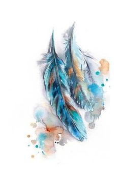 Art Print: Blue Feather by Sophia Rodionov : Watercolor Feather, Feather Painting, Feather Art, Watercolor Paintings, Feather Drawing, Black Feather Meaning, Tattoo Indio, Feather Tattoo Design, Indian Feather Tattoos