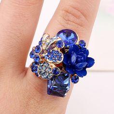 2017 Fashion Wanita Bunga Cincin Jari 7 Warna Crystal Berlian Imitasi Adjustable Pembukaan Rings Untuk Partai Perhiasan CollectionBerloque
