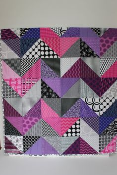 "Modern Baby Quilt; ""Olivia""; Contemporary; Geometric; Triangles; Purple; Pink; Baby Quilt; Lap Quilt, Play Mat; Wall Hanging"