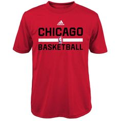 adidas Chicago Bulls Youth On-Court ClimaLITE Performance T-Shirt - Red