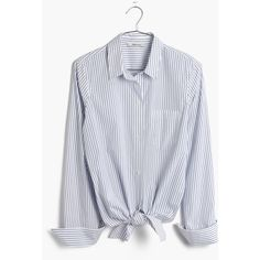 MADEWELL Tie-Front Shirt in Bookend Stripe ($80) ❤ liked on Polyvore featuring tops, abbey pin stripe, button up shirts, tie front top, tie front button down shirt, stripe top and tie shirt
