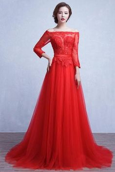 Red Lace Tulle Off The Shoulder A-line Sweep Train Prom Party Gowns