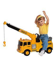 Look at this #zulilyfind! Action Crane Truck Ride-On by Flat River #zulilyfinds