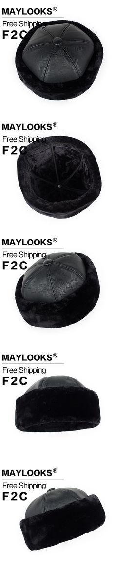 45260900406 Maylooks Winter hats for men women Faux fur bomber real leather cap hat  2017 Russian warm