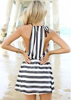 Black and white striped dress fashion black and white dress summer fashion summer style striped dress fashion and style summer fashion looks Look Fashion, Fashion Beauty, Womens Fashion, Fashion Black, Dress Fashion, Stripes Fashion, Trendy Fashion, Fashion Images, Fashion 2018
