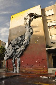 Street Art by Bordalo II in Sacavém, Portugal! Contribution to O Bairro i o Mundo social project at Quinta do Mocho, Sacavém, Portugal.