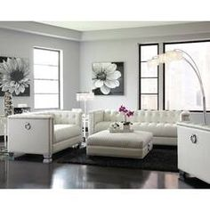 Chaviano Contemporary White Living Room Set ( Sofa and Loveseat ), Coaster Sofa And Loveseat Set, Room Decor, Furniture, Wall Decor Living Room, 3 Piece Living Room Set, Living Decor, Rustic Living Room, Living Room Sets, White Furniture Living Room