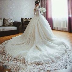 Cheap vestido de noiva, Buy Quality de noiva directly from China muslim wedding gown Suppliers: Real photo ball gown wedding dresses 2017 Cathedral long train Elegant lace long sleeve muslim wedding gowns vestidos de noiva Muslim Wedding Dresses, Wedding Dresses For Sale, Bridal Dresses, Wedding Gowns, Bridesmaid Dresses, Tulle Wedding, Wedding Bands, Prom Dresses, Pnina Tornai