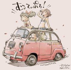 Illustration Sketches, Illustrations And Posters, Yoshifumi Kondo, Character Art, Character Design, Motorcycle Art, Car Sketch, Car Drawings, Cool Sketches