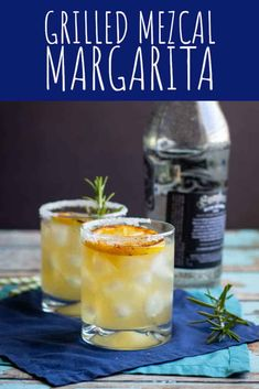 These Grilled Mezcal Margaritas are equal parts sweet, tart, and smoky. Honey syrup lends a pleasant sweetness, the grilled lemon juice is tart and complex, and the mezcal adds a boozy smokiness. Mezcal Margarita, Pomegranate Margarita, Mezcal Cocktails, Margarita Recipes, Cocktail Recipes, Mexican Drinks, Grilled Fruit, Cocktail Ingredients, Fun Easy Recipes