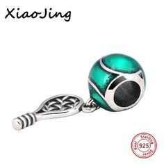 Silver 925 Beads Tennis racket Charms Pendant Beads Fit Pandora Bracelets charms